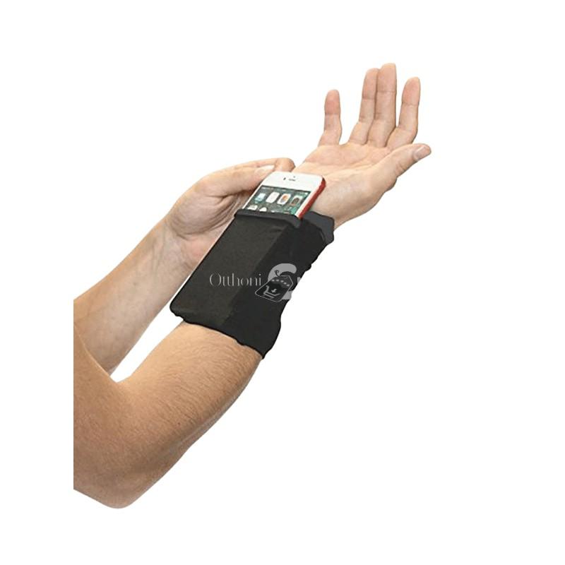 Csukló telefontartó és pénztárca (Fekete)