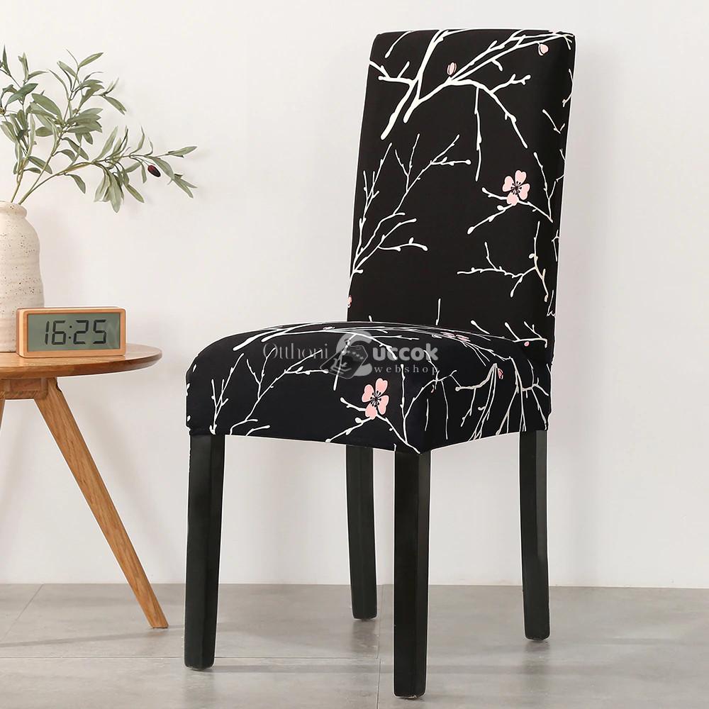 4 db Fekete virágos víz lepergető székhuzat