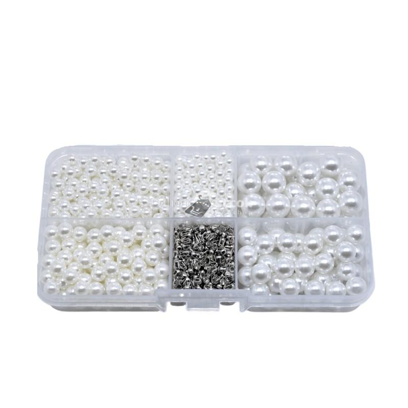 Fehér díszítő gyöngy készlet