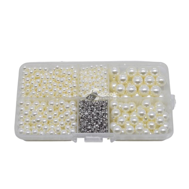 Törtfehér díszítő gyöngy készlet