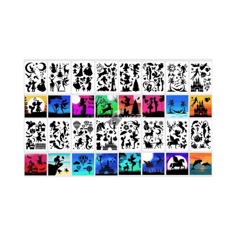 Sziluett festősablon, stencil (16 db)