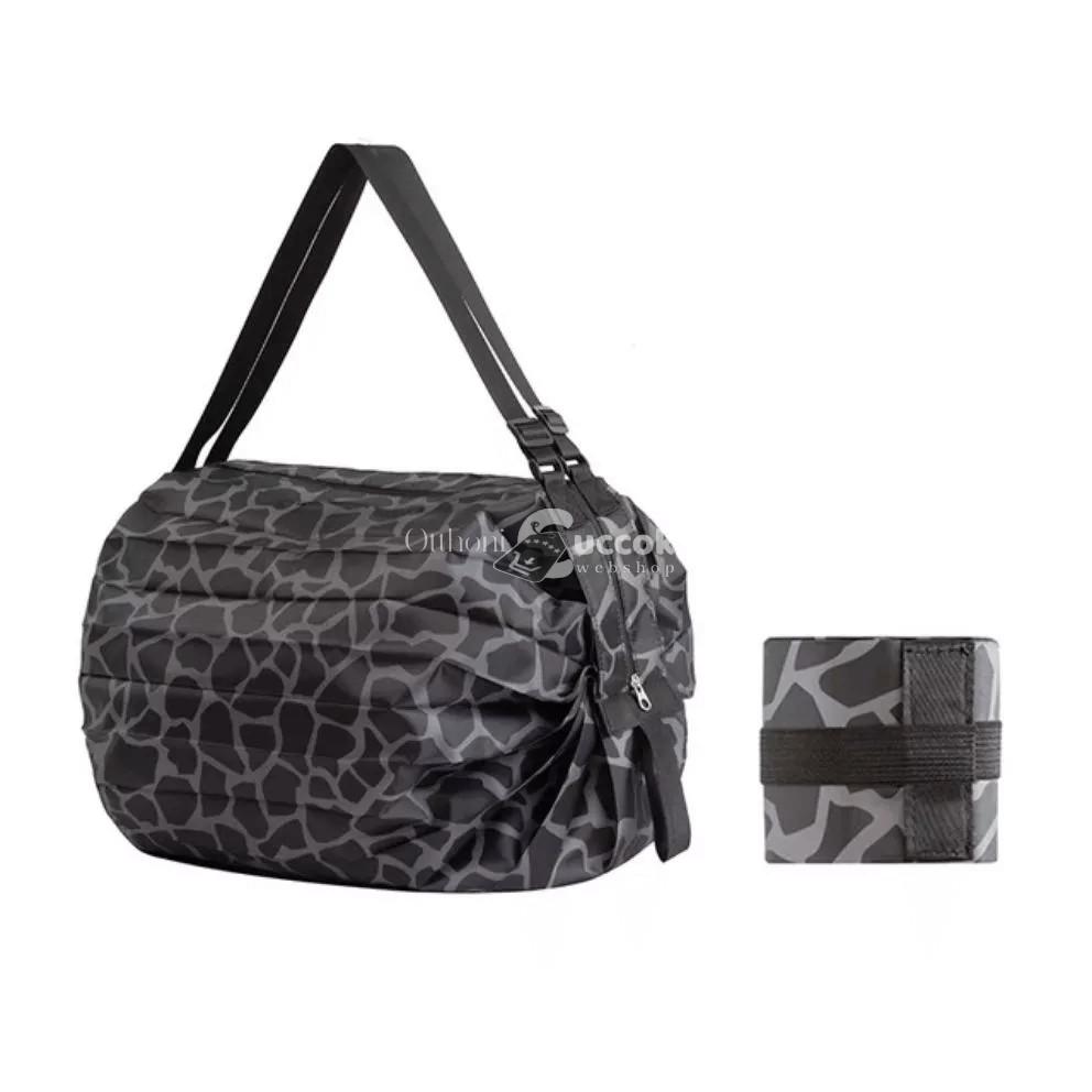 (Több szín) Összehajtható bevásárló táska -Fekete