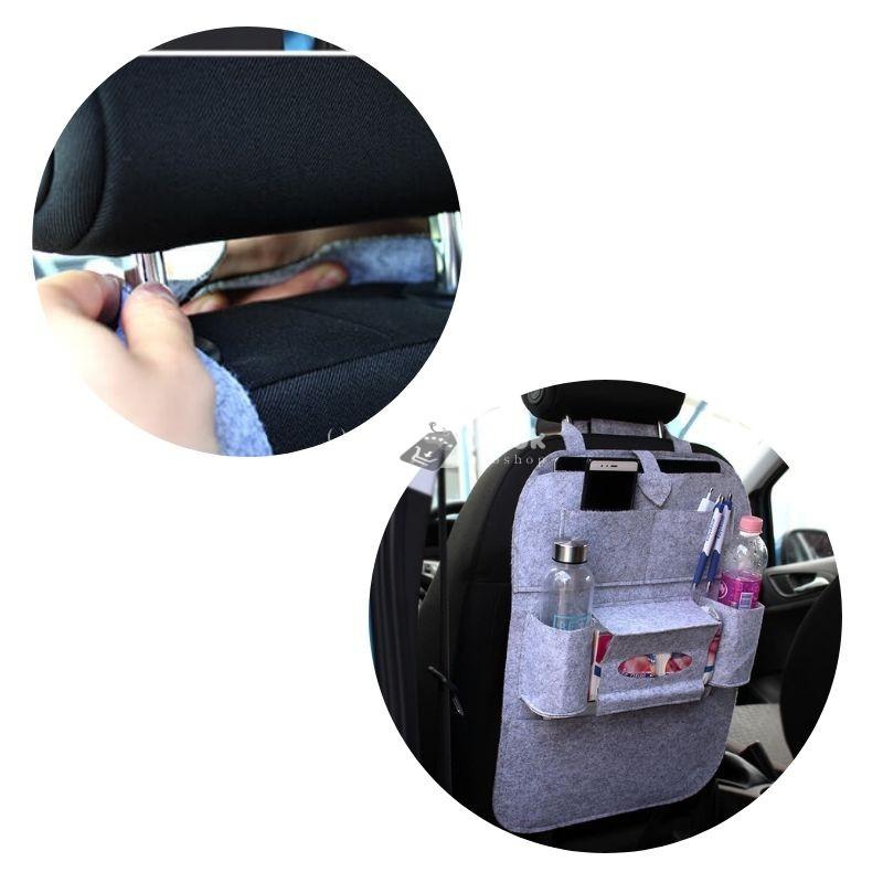 Háttámlavédő autós tároló (világos szürke)