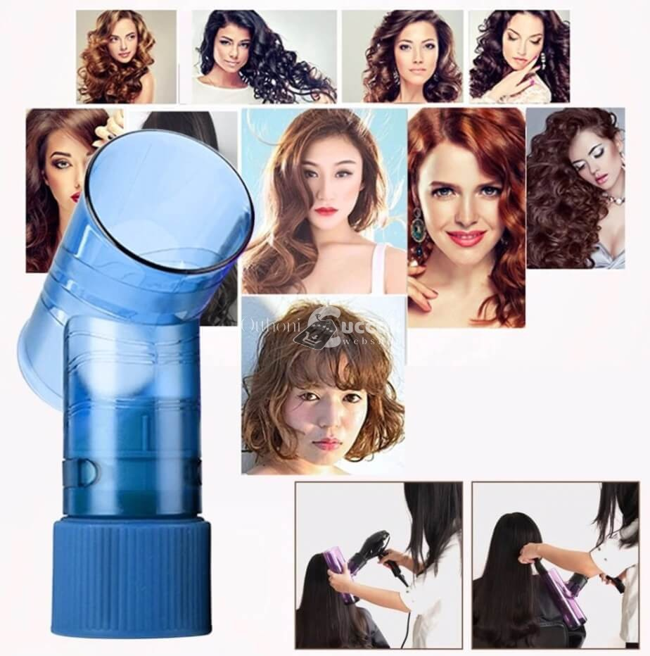 Hajgöndörítő hajszárító fej, hajgöndörítő henger (kék)