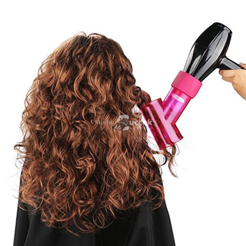 Hajgöndörítő hajszárító fej, hajgöndörítő henger (rózsaszín)